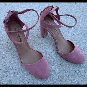 Mauve pink block heel